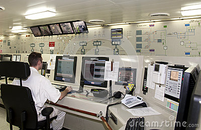 On Duty in Engine Control Room Editorial Photo