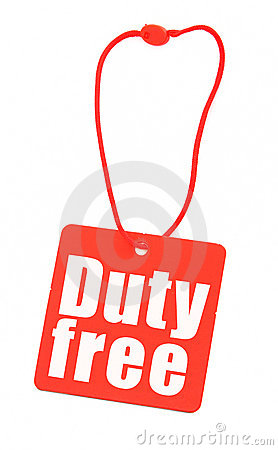Duty free tag on white