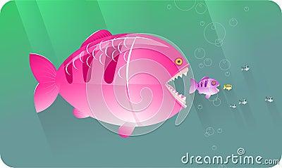 Duzi pojęcia jedzą rybie serie małe