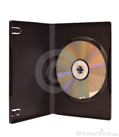 DVD disc in box isolated on white