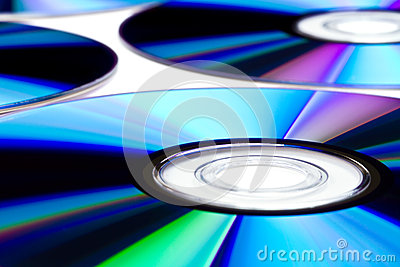 DVD disks close up