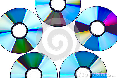 DVD disks over white