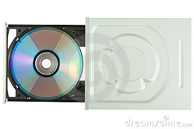 DVD drive with disk, top view