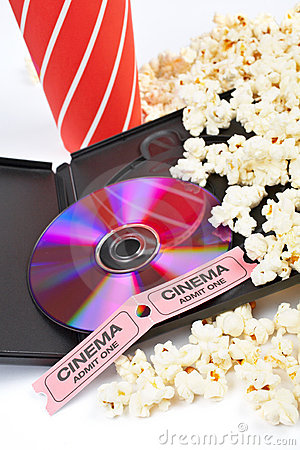 DVD, popcorn, soda and cinema tickets