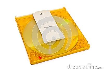DVD-RAM disk in plastic cartridge on white