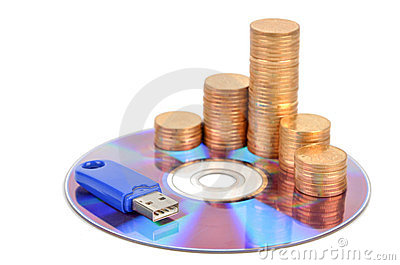 DVD and USB disk with coins