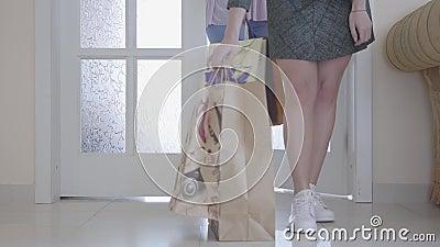 Dwa nierozpoznanej eleganckiej dziewczyny popierają do domu z ich zakupami po robić zakupy Tylko torby na zakupy i są widoczni zbiory