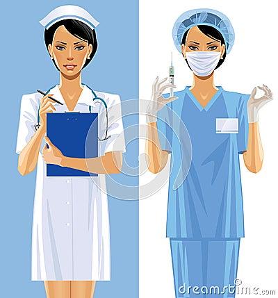 Dwa pielęgniarki