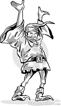 Dwarf or elf raising both hands