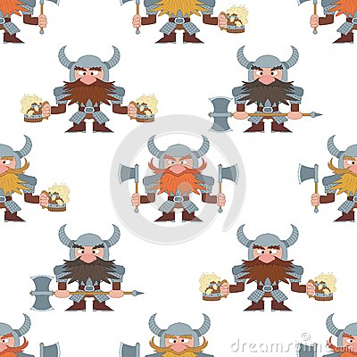 Dwarfs with beer mugs and axes, seamless