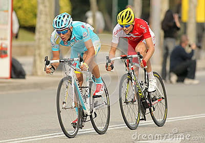 Dyachenko of Astana and Molard of Cofidis Editorial Stock Image