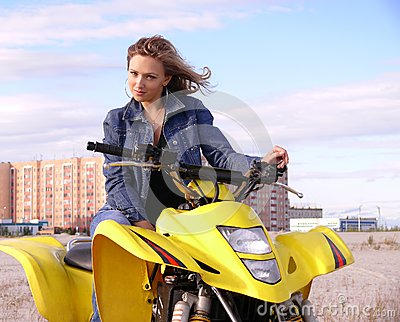 Dyakova Helen on quadrocycle.