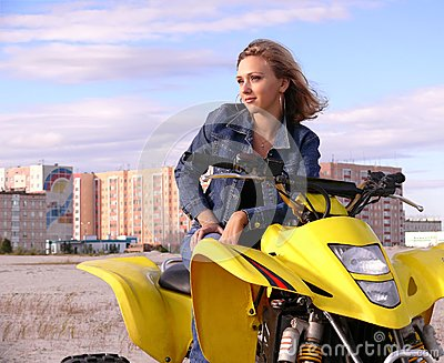 Dyakova Helen on quadrocycle.