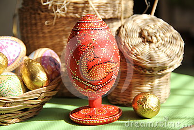 Dyed eggs handmade style of point to point