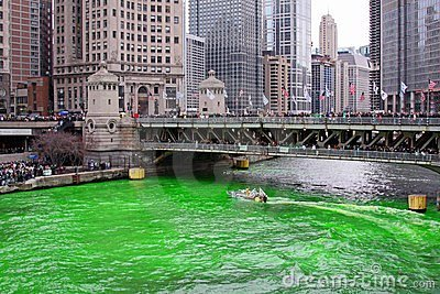 Dyeing the Chicago River Green Editorial Photography