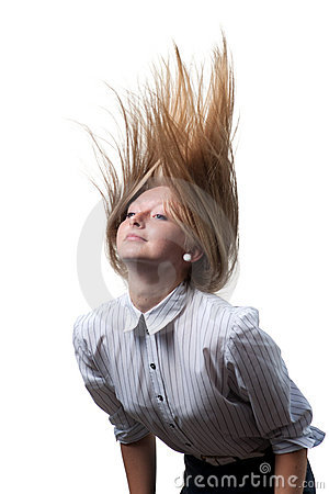 Dynamic flying hair on white background