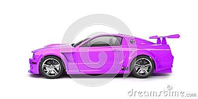 Dynamic purple sport car side view