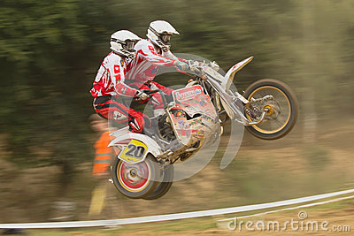 Dynamic shot of sidecar jump Editorial Stock Image