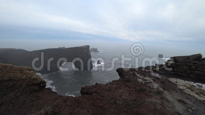 Dyrholaey in Islanda durante il Dull Day 4k archivi video