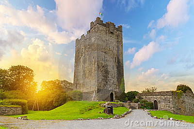 Dysert O Dea Castle in Co. Clare at sunset