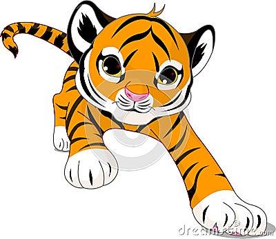 Działający dziecko tygrys