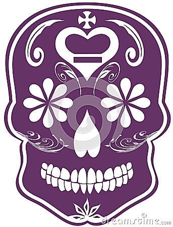 Dzień nieżywy purpurowy czaszki cukieru wektor