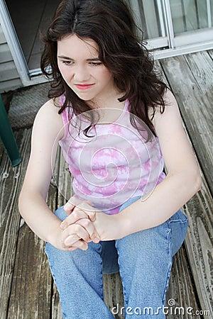 Dzień deprymujący marzący dziewczyny nastoletniego smutny