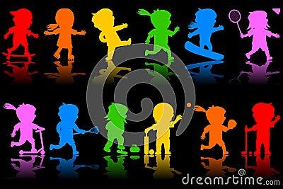 Dzieciak 2 kolorowej sylwetki
