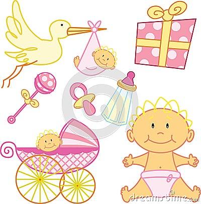 Dziecka urodzona śliczna elementów dziewczyny grafika nowa