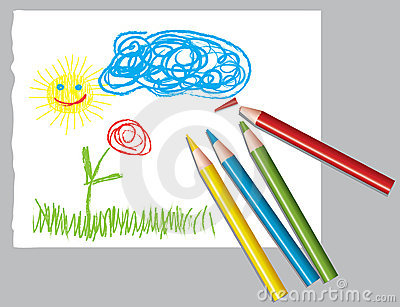 Dziecko ołówki barwioni rysunkowi s