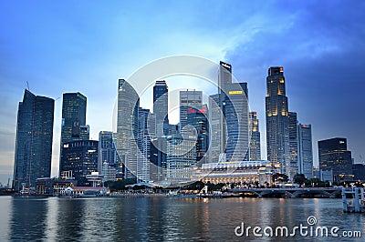 Dzielnica biznesu Singapore linia horyzontu Zdjęcie Editorial