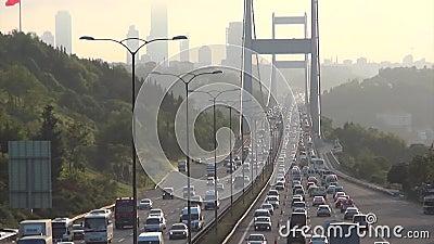 Dzienny ruch drogowy przez II bosporus most Istanbul zbiory