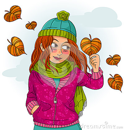 Dziewczyna w jesień