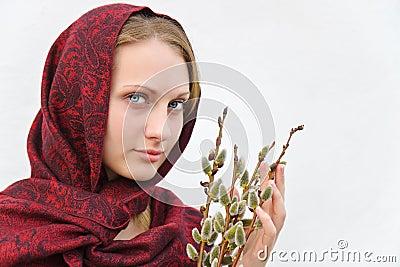 Dziewczyna z kici wierzbą. Obraz Stock Editorial