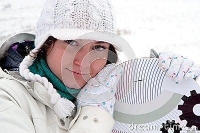 Dziewczyny snowboarder