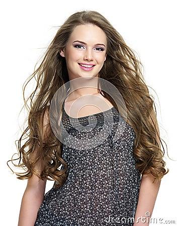 Dziewczyny włosów szczęśliwy długi portreta ja target1011_0_