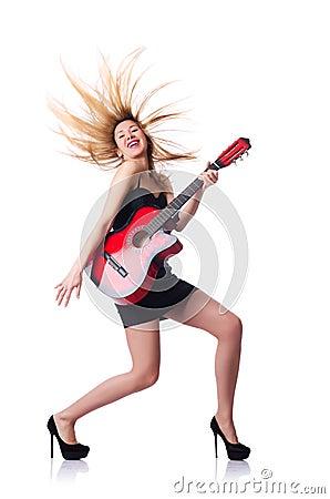 Żeński gitara gracz