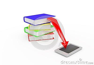 E-book. 3D render