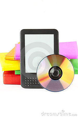 E-book reader with books and disk