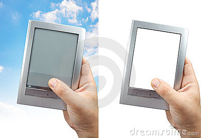 E book reader with clipping path