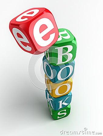 E-books 3d colorful cube tower