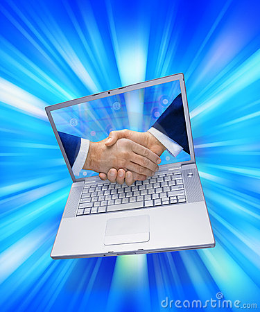 E Business Computer Marketing Handshake