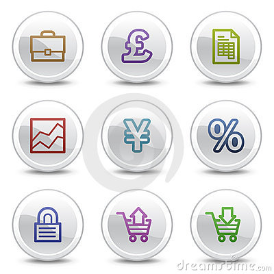 E-business web colour icons, white circle buttons