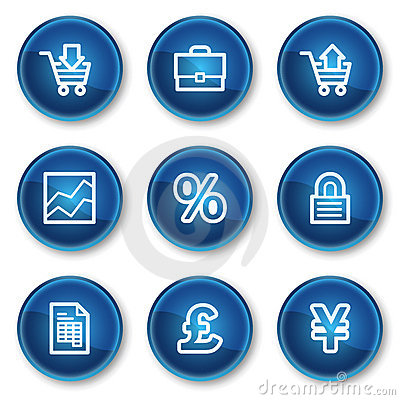 E-business web icons, blue circle buttons