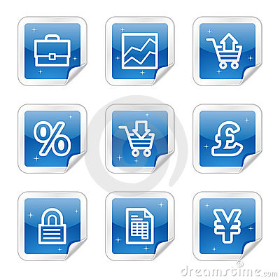 E-business web icons, blue glossy sticker series