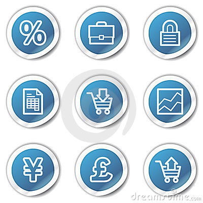 E-business web icons, blue sticker series