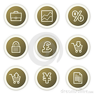 E-business web icons,  brown circle buttons series
