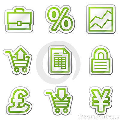 E-business web icons, green contour sticker series