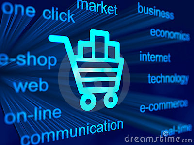 E-commerce background with cart icon