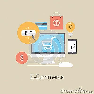 Free E-commerce Flat Illustration Concept Royalty Free Stock Image - 35861546